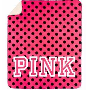 VS Pink Polka Dot Pink Black White Sherpa Blanket